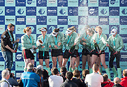 Mortlake/Chiswick, GREATER LONDON. United Kingdom. Women's Boat Race, [CUWBC President, Ashton BROWN, with the trophy, celebrates with her winning crew.  Championship Course, <br />  Putney to Mortlake on the River Thames. <br /> <br /> Sunday  02/04/2017<br /> <br /> [Mandatory Credit; Peter SPURRIER/Intersport Images]