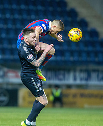Inverness Caledonian Thistle's John Baird over Falkirk's Jordan McGhee. Falkirk 3 v 1 Inverness Caledonian Thistle, Scottish Championship game played 27/1/2018 at The Falkirk Stadium.