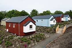 View of new wooden houses at the Social Bite Village in Granton built by Social Bite organisation for homeless people, Edinburgh, Scotland, United Kingdom, UK