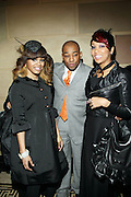 l to r: Teyan Taylor, Dennis White and Monica at The 2009 Fall Baby Phat Fashion Show held at Gotham Hall on February 17, 2009 in New York City.