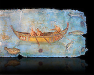 Roman Fresco with a boat decorated for a festival and marine life from the second quarter of the first century AD. (mosaico fauna marina da porto fluviale di san paolo), museo nazionale romano ( National Roman Museum), Rome, Italy. inv. 121462 .    Against a black background.<br /> The frescoes depict boats decorated as boats which went along the Tiber on festival days; their shape appears to be the caudicariae boats, used to transport merchandise. In the fresco fragment exhibited here (Ambiente E) the boat on the left depicts probably the group of 'side Serapide and Demetra on the stern, whereas the one on the right presents a crowned character on the bow and, on the stern, a feminine figure fluctuating in the air. Between the two boats, a young boy (a cupid or Palaimon-Portunus) rides a dolphin. All around are depicted several fish incredibly casting their shadows on the sea. The ichthyic fauna, lifeless as in still life decoration, is detailed as in a scientific catalogue. For the most part the represented species live next to the coast or were bred by the Romans in the piscinae salsac or in ponds. It is possible to recognize the rock mullet (mullus sunnuletus) and the mud one (mullus barbatu4 the scorpion fish (scorpoena) the dentex (dentex dentex), the aguglia (belone agus) the dolphin (delphinus delphis) and the golden mullet (lire curate). .<br /> <br /> If you prefer to buy from our ALAMY PHOTO LIBRARY  Collection visit : https://www.alamy.com/portfolio/paul-williams-funkystock/national-roman-museum-rome-fresco.html<br /> <br /> Visit our ROMAN ART & HISTORIC SITES PHOTO COLLECTIONS for more photos to download or buy as wall art prints https://funkystock.photoshelter.com/gallery-collection/The-Romans-Art-Artefacts-Antiquities-Historic-Sites-Pictures-Images/C0000r2uLJJo9_s0