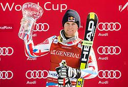 Winner Alexis Pinturault (FRA) celebrates at trophy ceremony after the 9th Men's Giant Slalom race of FIS Alpine Ski World Cup 55th Vitranc Cup 2016, on March 4, 2016 in Kranjska Gora, Slovenia. Photo by Vid Ponikvar / Sportida