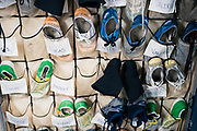 """A rack of specially constructed gripping shoes for performers in """"Cirque du Soleil: CRYSTAL"""" at the Alliant Energy Center in Madison, WI on Wednesday, May 1, 2019."""