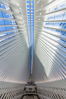 interior view of The Occulus World Trade Center station  design by architect  Manhattan Landmarks in New York City USA