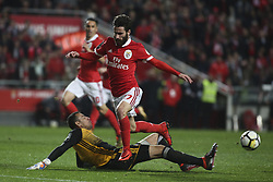 February 3, 2018 - Lisbon, Portugal - Rio Ave's goalkeeper Cassio (L) vies with Benfica's midfielder Rafa Silva during the Portuguese League  football match between SL Benfica and Rio Ave FC at Luz  Stadium in Lisbon on February 3, 2018. (Credit Image: © Carlos Costa/NurPhoto via ZUMA Press)