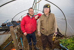 Rhuri Munro and Barry George in Barry's poly tunnel. Feature on the community on the island of Ulva, who have been awarded £4.4m in funding for their island buyout.