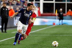September 22, 2018 - Foxborough, MA, U.S. - FOXBOROUGH, MA - SEPTEMBER 22: New England Revolution forward Guillermo Hauche (22) looks to cross the ball with Chicago Fire midfielder Dax McCarty (6) in tow during a match between the New England Revolution and the Chicago Fire on September 22, 2018, at Gillette Stadium in Foxborough, Massachusetts. The teams played to a 2-2 draw. (Photo by Fred Kfoury III/Icon Sportswire) (Credit Image: © Fred Kfoury Iii/Icon SMI via ZUMA Press)