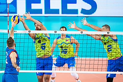 Mitja Gaspari of Slovenia in block during friendly volleyball match between Slovenia and Serbia in Arena Stozice on 2nd of September, 2019, Ljubljana, Slovenia. Photo by Grega Valancic / Sportida