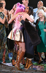 Ashley James, Winner Shane Jenek aka Courtney Act and Malika Haqq at the Celebrity Big Brother House 2018, Elstree Studios, Borehamwood. Picture credit should read: Doug Peters/EMPICS Entertainment