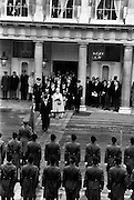 President Patrick Hillery, his wife Maeve, son John and daughter Vivienne leave Dublin Castle after his inauguration as sixth President of Ireland.<br /> 03/12/1976