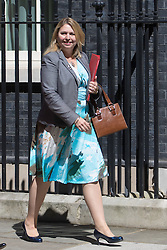 Downing Street, London, July 19th 2016. Secretary of State for Culture, Media and Sport Karen Bradley leaves the first full cabinet meeting since Prime Minister Theresa May took office.