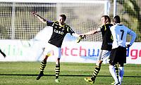 Fotball , 2. februar 2014 , Privatkamp , <br /> AIK - FC Astra 0-1<br /> Per Karlsson , AIK får skoen sin igjen av Nils-Eric Johanesson , AIK