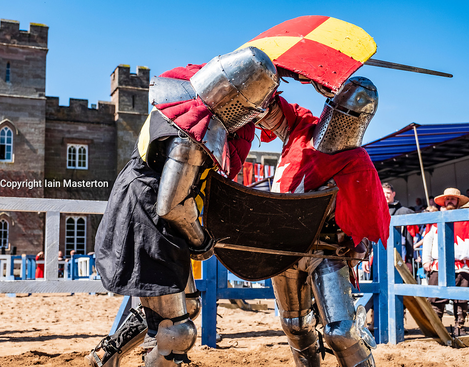 Two knights fight in List during the  International Medieval Combat Federation (IMCF) World Championships  at Scone Palace on May 12, 2018 at Scone Palace in Perth, Scotland.