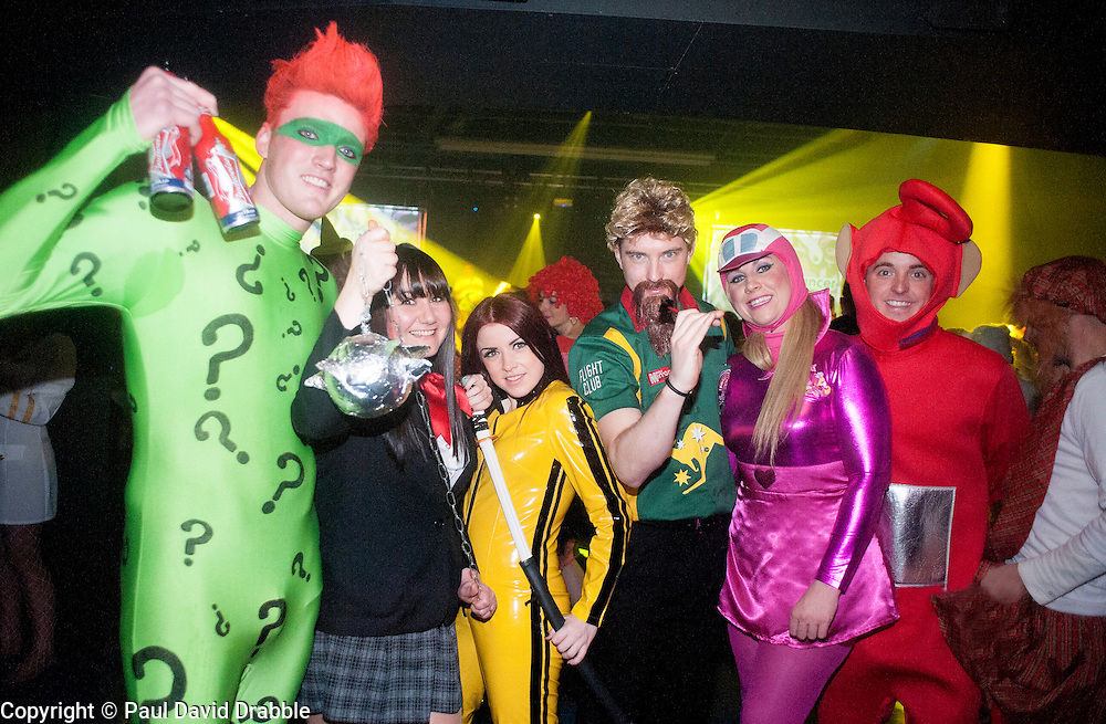 The Hubs, Hallam Union, Paternoster Row plays host to Sheffield's biggest Fancy Dress Ball. More than 900 people in fancy dress to raise money for Cancer Research on Saturday night revelers on the Dance floor ..6 April  2013.Image © Paul David Drabble