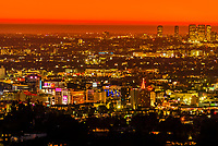 West Hollywood with Century City and the Pacific Ocean behind at twilight, Los Angeles, California USA.