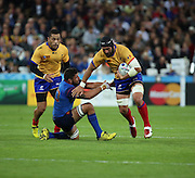 Valentin Ursache (Romania) bursting through the French midfield during the Rugby World Cup Pool D match between France and Romania at the Queen Elizabeth II Olympic Park, London, United Kingdom on 23 September 2015. Photo by Matthew Redman.