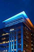 Davita Building at twilight, LoDo (lower downtown) Denver, Colorado USA.