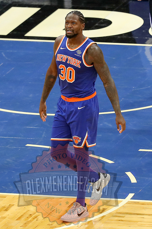 ORLANDO, FL - FEBRUARY 17:  Julius Randle #30 of the New York Knicks plays against the Orlando Magic at Amway Center on February 17, 2021 in Orlando, Florida. NOTE TO USER: User expressly acknowledges and agrees that, by downloading and or using this photograph, User is consenting to the terms and conditions of the Getty Images License Agreement. (Photo by Alex Menendez/Getty Images)*** Local Caption *** Julius Randle