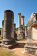 Excavations of the Temple of Artimis Sardis, originally the fourth largest Ionic temple when it was originally built in 300 B.C. In 150 AD under Roman rule when the worship  of the Emperor required all Roman cities to have a Temple dedicated to the Imperial family. The temple of Artimis was split into two sections with one half for Artemis and the Empress Faustina and the other for Zeus and Emperor Antoninus Pius and the present construction shows elements of Greek and Roman styles. Sardis archaeological site, Hermus valley, Turkey. A Harvard Art Museum excavation project. .<br /> <br /> If you prefer to buy from our ALAMY PHOTO LIBRARY  Collection visit : https://www.alamy.com/portfolio/paul-williams-funkystock/sardis-archaeological-site-turkey.html<br /> <br /> Visit our CLASSICAL WORLD HISTORIC SITES PHOTO COLLECTIONS for more photos to download or buy as wall art prints https://funkystock.photoshelter.com/gallery-collection/Classical-Era-Historic-Sites-Archaeological-Sites-Pictures-Images/C0000g4bSGiDL9rw