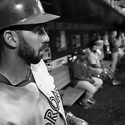 Chris Colabello, Toronto Blue Jays, in the dugout preparing to bat during the New York Mets Vs Toronto Blue Jays MLB regular season baseball game at Citi Field, Queens, New York. USA. 15th June 2015. Photo Tim Clayton