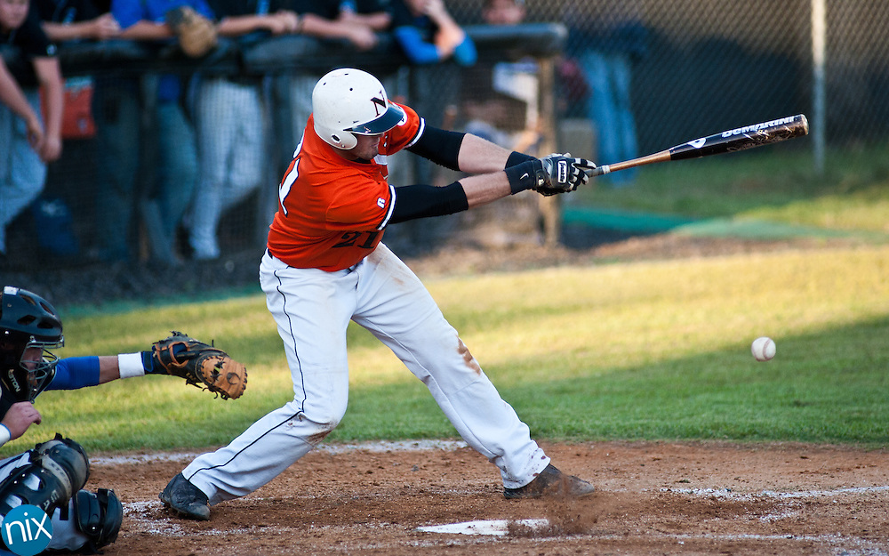 Northwest Cabarrus' Weston Smith bats against Parkwood during the second round of the NCHSAA playoffs Wednesday night at Northwest Cabarrus High School. Parkwood upset the higher ranked Trojans 5-2. (Photo by James Nix)