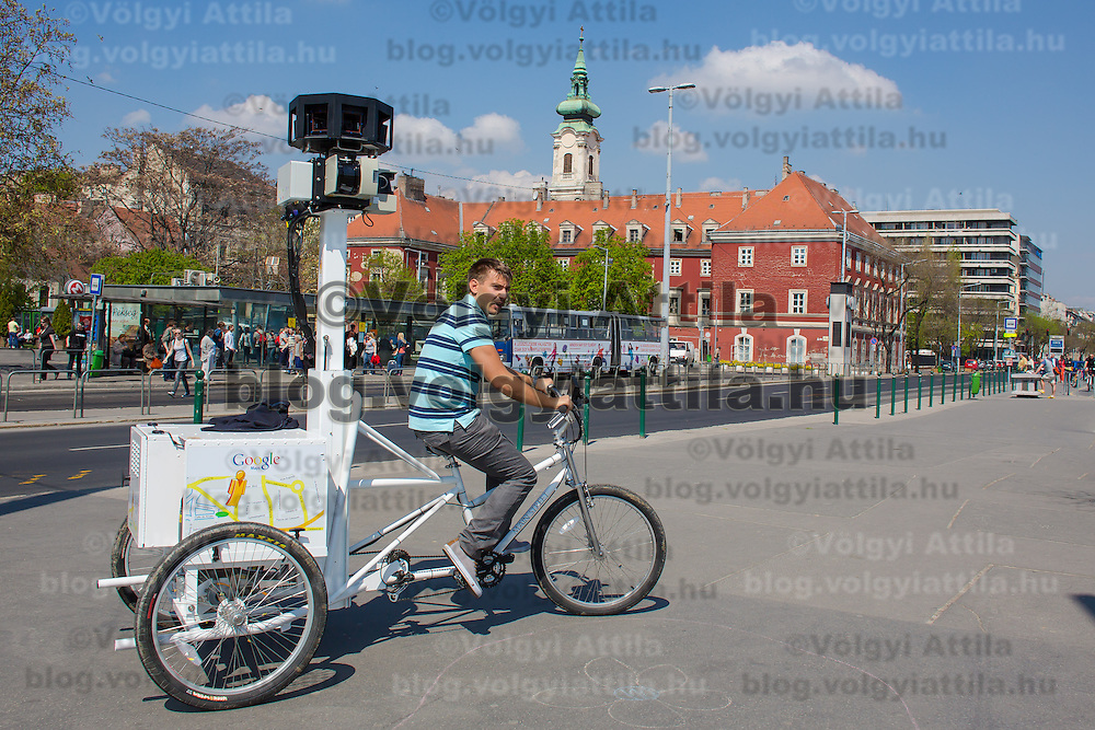 Special trike recording photos for the Google Street View service is seen heading to a press conference on the Hungarian launch of Google Street View in Budapest, Hungary on April 23, 2013. ATTILA VOLGYI