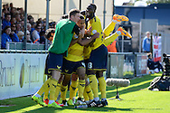 Kemar Roofe celebrates first goal during the Sky Bet League 2 match between Bristol Rovers and Oxford United at the Memorial Stadium, Bristol, England on 6 September 2015. Photo by Alan Franklin.