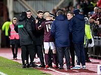Football - 2019 / 2020 William Hill Scottish Cup - Quarter-Final: Heart of Midlothian vs. Rangers<br /> <br /> Rangers manager Steven Gerrard speaks with Steven Naismith of Hearts at half time, at Tynecastle Park, Edinburgh.<br /> <br /> COLORSPORT/BRUCE WHITE