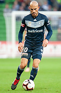 Melbourne Victory midfielder James Troisi (10) controls the ball at the Hyundai A-League Round 2 soccer match between Melbourne Victory and Perth Glory at AAMI Park in Melbourne.