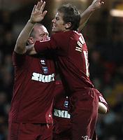 Photo: Alan Crowhurst.<br />Watford v Brighton & Hove Albion. Coca Cola Championship. 03/12/2005. <br />Guy Butters (L) celebrates his goal for Brighton with Dean Hammond.