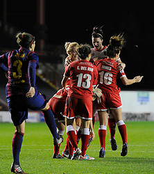 Bristol Academy Womens' Nikki Watts  celebrates with team mates  - Photo mandatory by-line: Joe Meredith/JMP - Mobile: 07966 386802 - 13/11/2014 - SPORT - Football - Bristol - Ashton Gate - Bristol Academy Womens FC v FC Barcelona - Women's Champions League