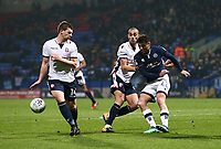 Bolton Wanderers' Jed Wallace, Bolton Wanderers' Darren Pratley and Millwalls Ben Marshall <br /> <br /> Photographer Leila Coker/CameraSport<br /> <br /> The EFL Sky Bet Championship - Bolton Wanderers v Millwall - Tuesday 10th April 2018 - Macron Stadium - Bolton<br /> <br /> World Copyright © 2018 CameraSport. All rights reserved. 43 Linden Ave. Countesthorpe. Leicester. England. LE8 5PG - Tel: +44 (0) 116 277 4147 - admin@camerasport.com - www.camerasport.com