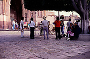 San Miguel de Allende, Mexico, photo from 1990 brass band playing outside the church