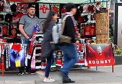 Fans walk past Wayne Rooney merchandise on sale outside Old Trafford  - Mandatory by-line: Matt McNulty/JMP - 17/09/2017 - FOOTBALL - Old Trafford - Manchester, England - Manchester United v Everton - Premier League