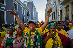 Aug. 8, 2017 - Cape Town, South Africa - Supporters of South Africa's ruling African National Congress (ANC) gather in Cape Town. South African President Jacob Zuma on Tuesday survived a no confidence motion by secret ballot. Parliament Speaker Baleka Mbete announced that 198 Members of Parliament voted against the motion, while 177 voted in favor and nine abstained. (Credit Image: © Jaco Marais/Xinhua via ZUMA Wire)