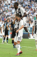 Miralem Pjanic Juventus esutanza gol. celebration goal with Blaise Matuidi Juventus <br /> Torino 25-08-2018 Allianz Stadium Football Calcio Serie A 2018/2019 Juventus - Lazio Foto Andrea Staccioli / Insidefoto