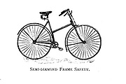 Semi-Diamond frame Safety From Wheels and Wheeling; An indispensable handbook for cyclists, with over two hundred illustrations by Porter, Luther Henry. Published in Boston in  1892