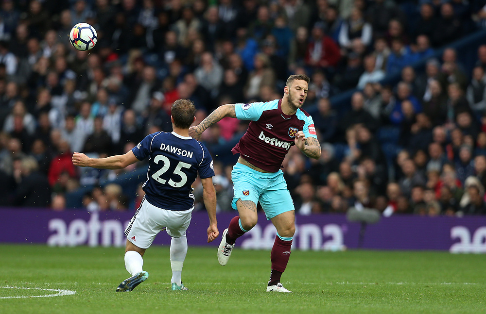 West Ham United's Marko Arnautovic and West Bromwich Albion's Craig Dawson<br /> <br /> Photographer Rob Newell/CameraSport<br /> <br /> The Premier League - West Bromwich Albion v West Ham United - Saturday 16th September 2017 - The Hawthorns - West Bromwich<br /> <br /> World Copyright © 2017 CameraSport. All rights reserved. 43 Linden Ave. Countesthorpe. Leicester. England. LE8 5PG - Tel: +44 (0) 116 277 4147 - admin@camerasport.com - www.camerasport.com