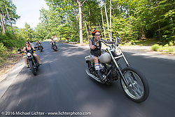 Kissa Von Addams and the Iron Lilies out riding during Laconia Motorcycle Week 2016. NH, USA. Sunday, June 19, 2016.  Photography ©2016 Michael Lichter.