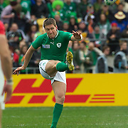 """Ronan O"""" Gara, Ireland, in action during the Ireland V Wales Quarter Final match at the IRB Rugby World Cup tournament. Wellington Regional Stadium, Wellington, New Zealand, 8th October 2011. Photo Tim Clayton..."""
