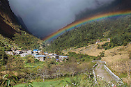 A rainbow arches over the valley as volunteers with Himalayan Family Healthcare Project leave Tilche, Nepal on their way back to Kathmandu.