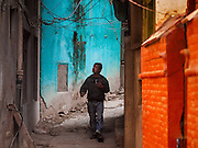 05 MARCH 2017 - KATHMANDU, NEPAL: A man walks on a street in Kathmandu, Nepal.     PHOTO BY JACK KURTZ