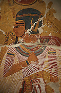 Egyptian painting on stucco of Pharaoh Amenhotep I. 11152-1145BC, Thebes. Neues  Museum, Berlin. Cat No AM2061 .<br /> <br /> If you prefer to buy from our ALAMY PHOTO LIBRARY  Collection visit : https://www.alamy.com/portfolio/paul-williams-funkystock/ancient-egyptian-art-artefacts.html  . Type -   Neues    - into the LOWER SEARCH WITHIN GALLERY box. Refine search by adding background colour, subject etc<br /> <br /> Visit our ANCIENT WORLD PHOTO COLLECTIONS for more photos to download or buy as wall art prints https://funkystock.photoshelter.com/gallery-collection/Ancient-World-Art-Antiquities-Historic-Sites-Pictures-Images-of/C00006u26yqSkDOM