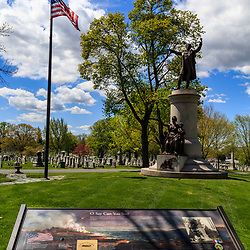 Frederick, MD, USA - April 26, 2015: Francis Scott Key monument and burial place in Mount Olivet Cemetery, Frederick, Maryland.