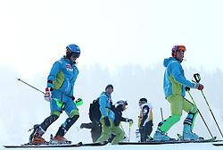 Matic Skube and Bernard Vajdic at 9th men's slalom race of Audi FIS Ski World Cup, Pokal Vitranc,  in Podkoren, Kranjska Gora, Slovenia, on March 1, 2009. (Photo by Vid Ponikvar / Sportida)