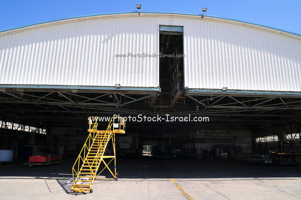 Israel, Ben-Gurion international Airport maintenance working in a maintenance hanger