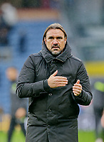 Football - 2021 / 2022 Premier League - Burnley vs. Norwich City - Turf Moor - Saturday 2nd October 2021<br /> <br /> Daniel Farke salutes the travelling support after his side earned their first point of the season in a 0-0 draw, at Turf Moor.<br /> <br /> <br /> COLORSPORT/ALAN MARTIN