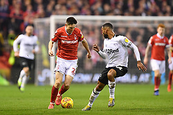 February 25, 2019 - Nottingham, England, United Kingdom - Joe Lolley (23) of Nottingham Forest battles with Derby County defender Ashley Cole (26) during the Sky Bet Championship match between Nottingham Forest and Derby County at the City Ground, Nottingham on Monday 25th February 2019. (Credit Image: © Mi News/NurPhoto via ZUMA Press)
