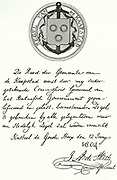 The letter by which the city of Cape Town was granted a Coat of Arms is reproduced here.