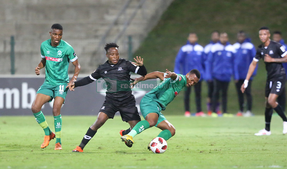 02102018 (Durban) Maritzburg United player Keletso Makgalwa and Thembela Sikhakhane  fight for a ball during the game when AmaZulu FC takes head on their KwaZulu-Natal rivals Maritzburg United in an Absa Premiership match at the King Zwelithini Stadium in Durban on Tuesday night. Usuthu extended their winless run to three league games when they lost 2-0 to Kaizer Chiefs away in their previous match over a week ago and after losing 6 points.<br /> Picture: Motshwari Mofokeng/African News Agency (ANA)